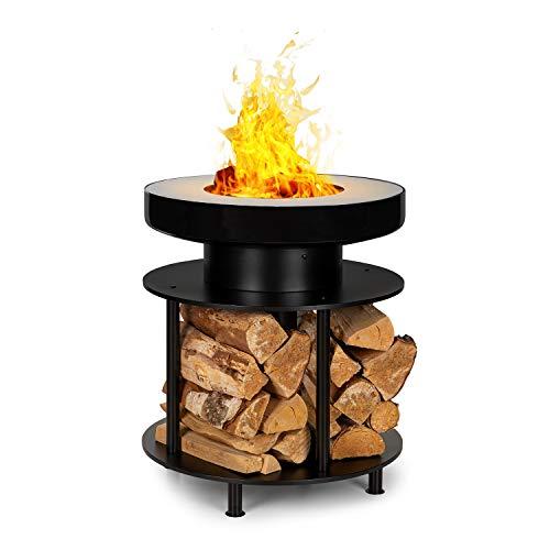 Blumfeldt Wood Stock 2 en 1 brasero y Barbacoa - Ring of Fire BBQ Ledge: Anillo de Acero de 12,5 cm...