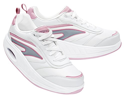 Fitness Step Classic Training - Zapatillas tonificadoras para mujer, color blanco / rosa, talla 36