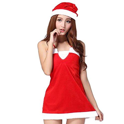BOZEVON Christmas Costumes, Women's Fun Christmas Costume Dress Cosplay Girls Xmas Outfit Fancy Party (Womens Christmas Fancy Dress Outfits)