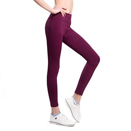 VFUN Legging de Sport Pantalon de Yoga Femme Basique avec Coupe Ajustée Prune