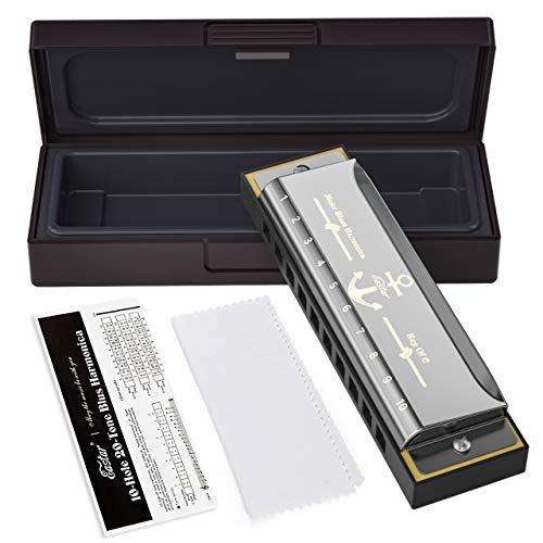 Eastar armonica a bocca blues di 10 fori c key con custodia colore argento