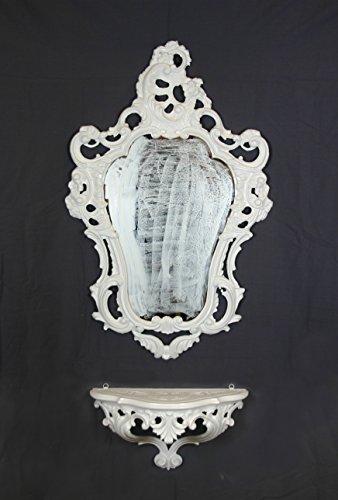 Ideacasa Konsolenregal mit weißem Spiegel, Barock-Stil, Louis XVI, künstlicher Vintage-Stil, Möbeleingang