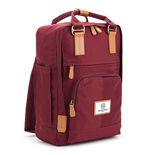 SEVENTEEN LONDON - Moderner, einfacher und Unisex \'Hackney\' Rucksack in Burgunderrot mit einem klassischen Design im Skandi-Stil - perfekt für 13-Zoll-Laptops