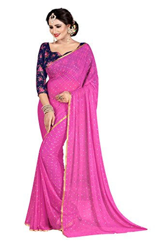 Febo Fashion Women's Nazneen Light Pink Colour Plain Sari