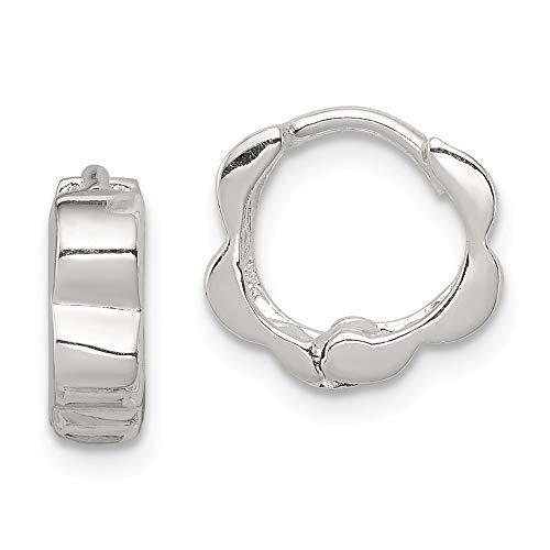 Damen-Ohrringe, 925 Sterlingsilber, 10 mm, Breite: 4 mm (14k White Gold Huggies-ohrringe)