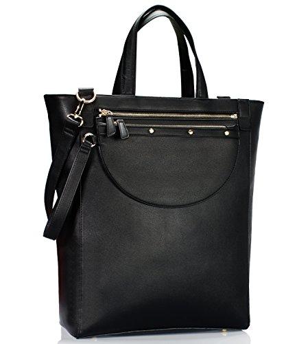Estarer Damenhandtasche PU-Leder Handtasche Damen Laptoptasche 15,6 Zoll für Arbeit Uni Schwarz