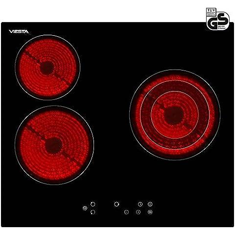 Viesta C3Z - Placa vitrocéramica de inducción, 3 zonas de cocción, 5300 W potencia total, color negro