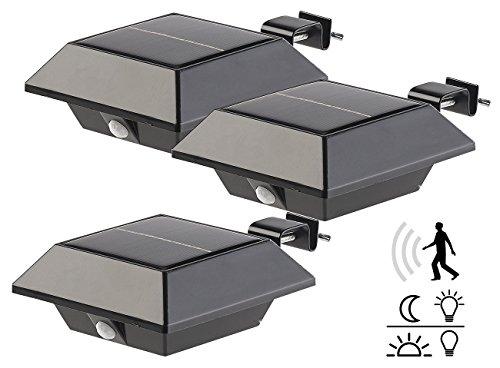 Lunartec Dachrinnen Lampe: Solar-LED-Dachrinnenleuchte, 160 lm, 2 W, PIR-Sensor, schwarz, 3er-Set (LED Dachrinnenbeleuchtung) (Solar-lampe)