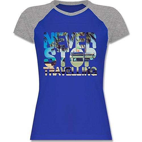 Shirtracer Statement Shirts - Never Stop Travelling Meer Palmen - Zweifarbiges Baseballshirt/Raglan T-Shirt für Damen Royalblau/Grau meliert