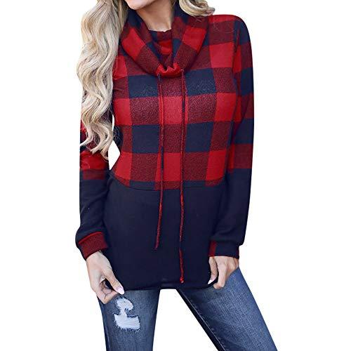 Maglieria donna, maglietta a maniche lunghe scozzese da donna a manica lunga di hanomes