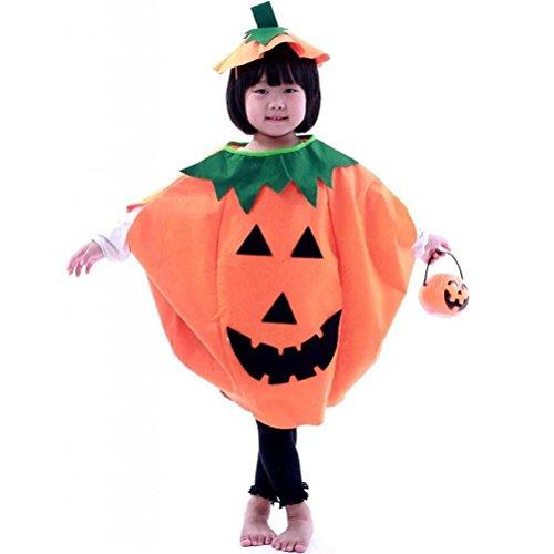 PIXNOR Bambini vestiti di Halloween Costume zucca + berretto (arancione)