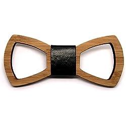 BOBIJOO Jewelry - Pajarita Hombre Calado Natural de bambú de Madera clásico de Cuero Hecho a Mano