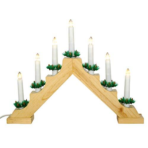 Nipach GmbH Schwibbogen aus Holz 7 LED Lichterbogen Dreieckform - Leuchtfarbe: warm-weiß Leuchtbogen Weihnachtsbeleuchtung Weihnachtsdeko Xmas