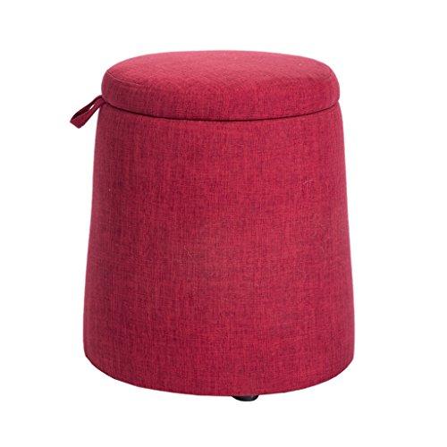 YUEDAI Hocker Hölzerne Änderungs-Schuh-Schemel mit Lagerung gepolstert Osmanen-Fußbank-Fußlehne-Kleiner Sitz-Stuhl verwendbar für Wohnzimmerschlafzimmer (Color : Red) -