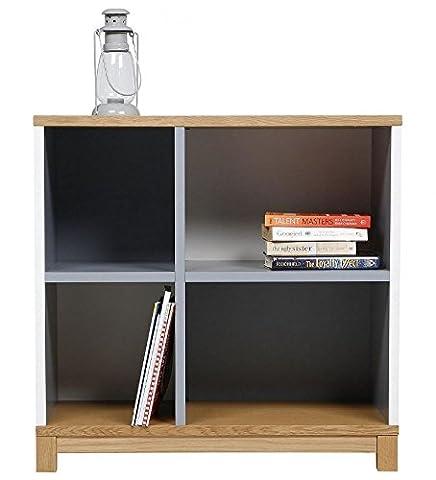 Oslo 4 Shelf Wide Bookcase, White, Oak & Grey - Storage