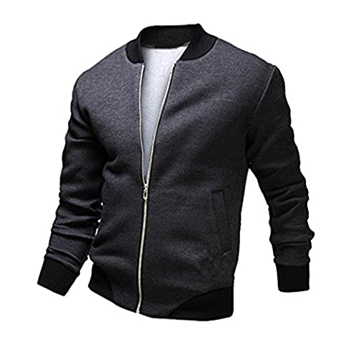 h2h Mens Slim Fit Varsity Baseball Bomber Cotton Lightweight Premium pour homme () - gris - XL