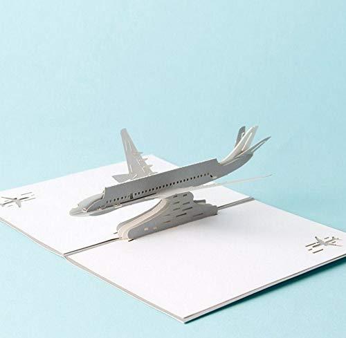 ZOOMY 3D Pop Up Flugzeug Grußkarten Weihnachten Geburtstag Valentine Einladung 10x15cm