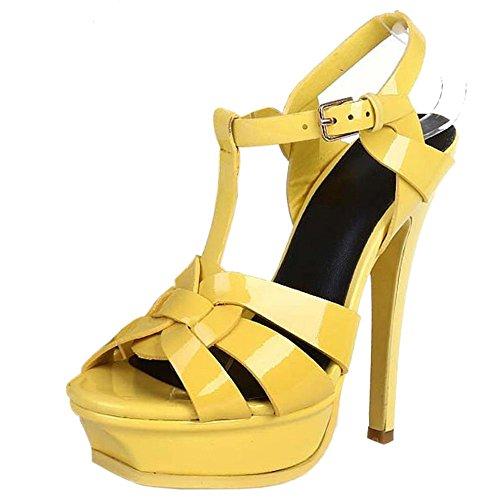 TAOFFEN Femmes Elegant Aiguille Sandales Talons Hauts T-strap Bout Ouvert Chaussures De Boucle Jaune