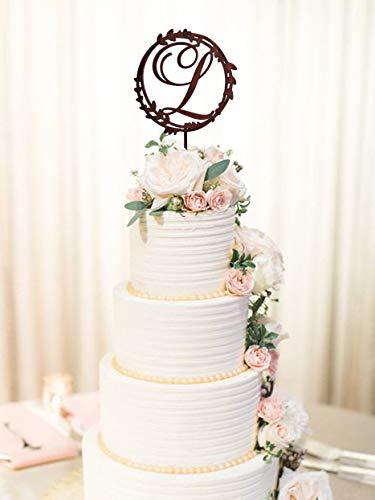 Andrea1Oliver Brief L Cake Topper Rustikale Hochzeitstorte Topper L Anfangstorte Topper L Holz Cake Topper Gold Cake Topper f¨¹r Hochzeit Custom Cake Topper (Brief E-hochzeitstorte Topper)