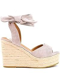 a108d6dea7 Zapatos Sandalias con cuña tacón Plataforma Alta con Tira Ancha y Cuerda al  Tobillo de Ante