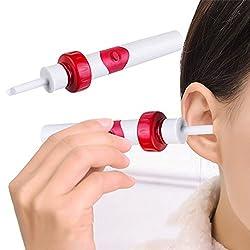 FUNWILL Automatischer Intelligenter Ohrenschmalz Entferner, Wirksames Elektrisches Ohrreiniger Sets mit Bürste, Sicheres und Weiches Ohrreinigungssystem für Erwachsene & Kinder (Rot)