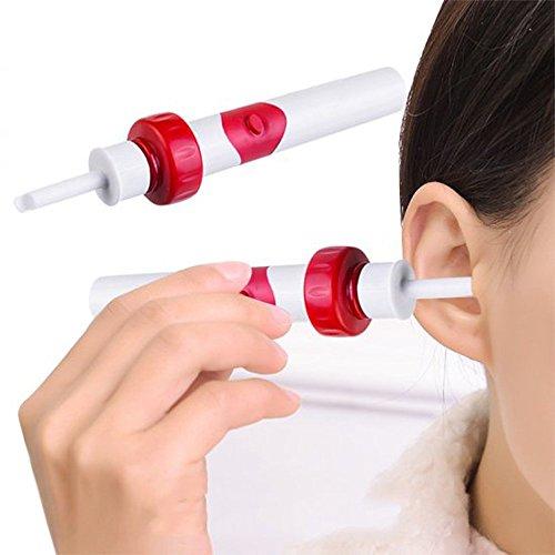 r Intelligenter Ohrenschmalz Entferner, Wirksames Elektrisches Ohrreiniger Sets mit Bürste, Sicheres und Weiches Ohrreinigungssystem für Erwachsene & Kinder (Rot) ()