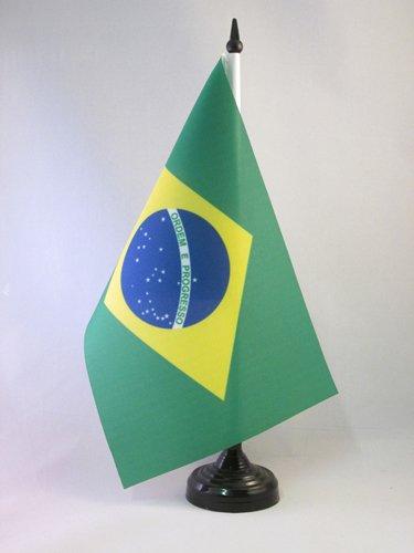 AZ FLAG TISCHFLAGGE BRASILIEN 21x14cm - BRASILIANISCHE TISCHFAHNE 14 x 21 cm - flaggen