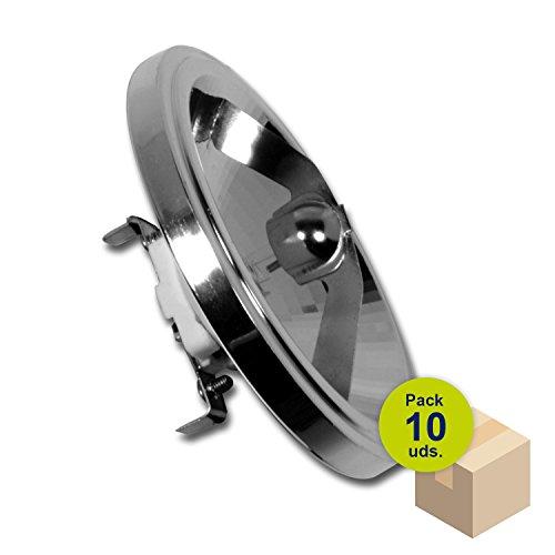 HALOTEC Pack 10 Bombillas QR111 reflector aluminio 75W ángulo apertura 24º casquillo G53 filtro UVSTOP