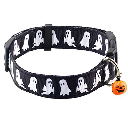 Bolbove Haustier-Halsband mit Glöckchen, verstellbar, Large, Black Ghost