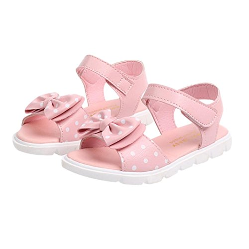 Holeider Sandalen Schuhe Kinder Kids Infant Mädchen Dot Bowknot Sandalen Rutschfeste Prinzessin Freizeitschuhe (34, Rosa) (Knochen Kid Schuhe)