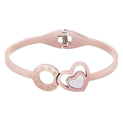 AnaZoz Bracelet Cuff Acier Inoxydable pour Femme Double Cœur and Round Gravé love Or Rose