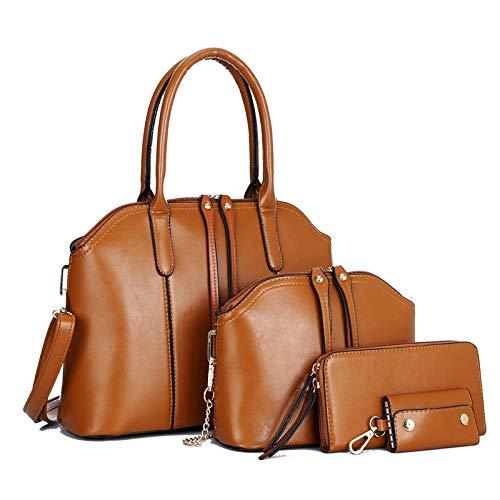 Damen Tasche Tote Umhängetasche Handtasche Mode 4 Stück Blau Handtasche Damen Reise Leder Handtasche Damen-Umhängetaschen für Büro Schule Einkauf -