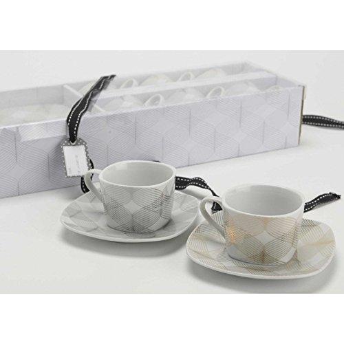 Amadeus - Coffret 6 Tasses Filaire avec sous Tasses, en Porcelaine, Amadeus, Service à café