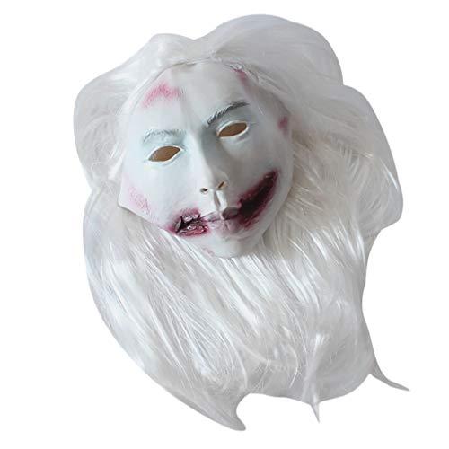 Kostüm Kids Clown Scary - T.boys Maske Verwesender Zombie Über Kopf Latex,Scary Clown Maske,Halloween Kostüm Prop Horror schreckliche Latex Maske,Horror Gruselig Latex Clown Masken für Karneval Fasching Fastnacht Party (Weiß)