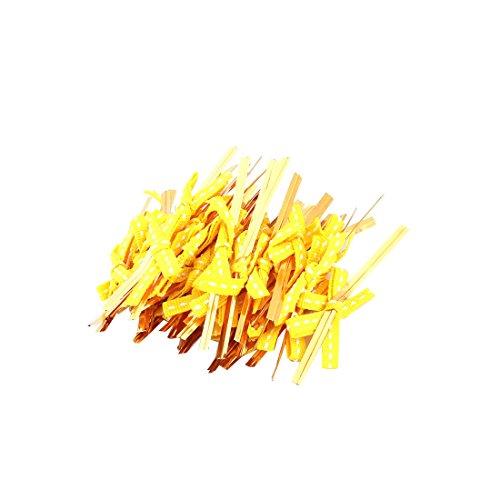 tik Bowknot Dekor Süßigkeit Geschenk Taschen Packung Zwei Krawatten Gelb (Weiß-glänzenden Geschenk-taschen)