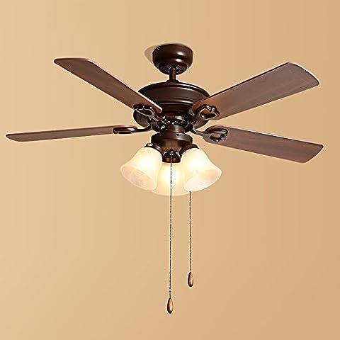 TOYM UK American Ceiling Fan Nordic Retro Iron Fan Light Simple Wood Leaf Living Room Bedroom Restaurant