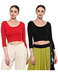 fa3ea62085034 Salwar Studio Women s Pack of 2 Free Size Strechable Readymade Saree  Blouses Combo(OM-