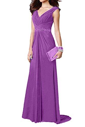 Charmant Damen Festlich Chiffon Pailletten Traeger Abendkleider  Partykleider Abschlussballkleider Lang A-linie Neuheit Violett