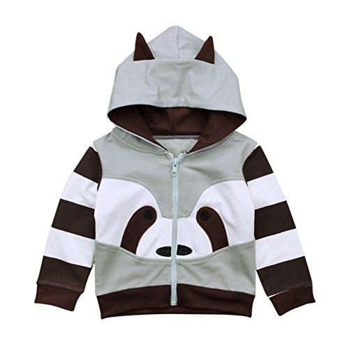 (Baby Boy Jacke Outwear Frühling Herbst Kapuzen Outfit Kleidung Waschbär Design Cute Kleidung für 1-5 Jahre alte Kinder)