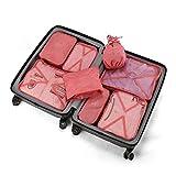 Koffer Organizer Reise Kleidertaschen 8 Sets/7 Farben neueste Design Travel Gepäck Organisatoren enthalten wasserdichte Schuh-Aufbewahrungsbeutel bequeme Kompressions Beutel für Reisende(peach pink)