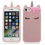 YuanYuZhongPhoneSky iPhone 6s Plus Custodia, iPhone 6 Plus Copertura, Gel Animale del Silicone Sveglia di Modo del Fumetto 3D Unicorno Cover TPU Antiurto Kawaii Ragazze per iPhone 6S Plus 5.5' (Rosa)
