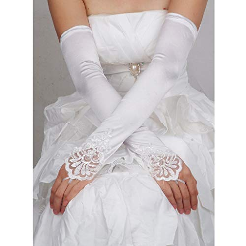 Simplelife abito da sera da sposa con paillettes in rilievo ricamato senza dita lungo guanti da sposa