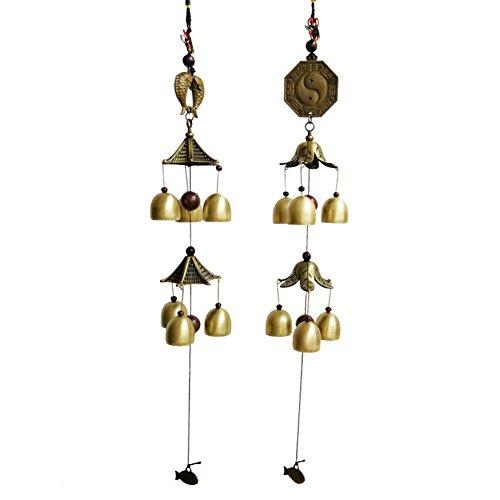 Sue Supply Windbell Doppellagig 6Glocken Windspiel Anhänger Japanischen Stil, Windspiel mit Kupfer Glocke Garten Holz Wind Chimes für Terrasse, Terrasse und Outdoor B