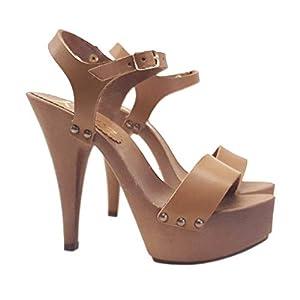 Damenclogs mit Riemen – Heel 13 – K9310 CUOIO