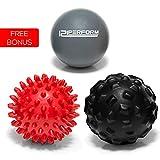 121PERFORM set di 3 sfere massaggianti - Spikey, Porcupine, Lacrosse - riflessologia confezione, sollievo dal dolore, fascite plantare, efficiente Myofascial Trigger Points rilascio per collo, schiena