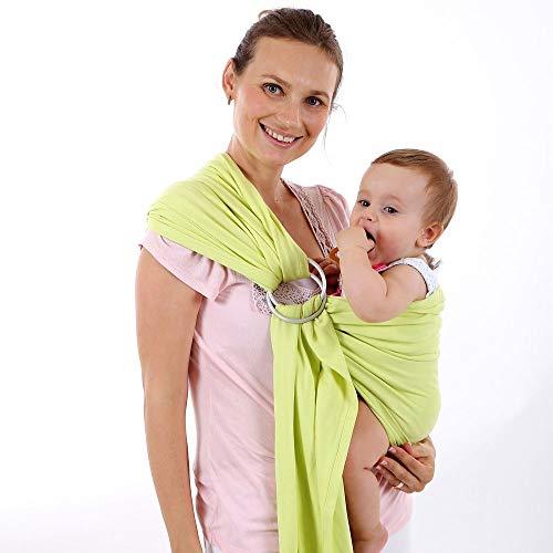 LOVEQIZI Ring Sling Baby Carrier - extra weiches Bambus- und Leinengewebe - leichte Wickelhülle - für Neugeborene, Säuglinge und Kleinkinder Babyparty - Wunderschöner Stoff,D -