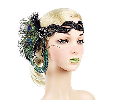 JenK Cing 1920er Jahre Headpiece Feather Flapper Stirnband Gatsby Kopfschmuck Vintage Königs Erwachsene Party Haar Halloween Weihnachten Cosplay Punktierter Stirnbänder Bögen Zubehör (Grün) (Fashion Flapper Kostüm Für Erwachsene)