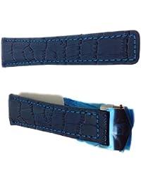 22/18mm Montre Sangles en cuir style crocodile bleu/bleu avec coutures Bleu pour TAG Heuer