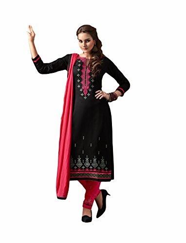 Black colour embroidery cotton unstitched Straight churidar cotton-salwar-kameez