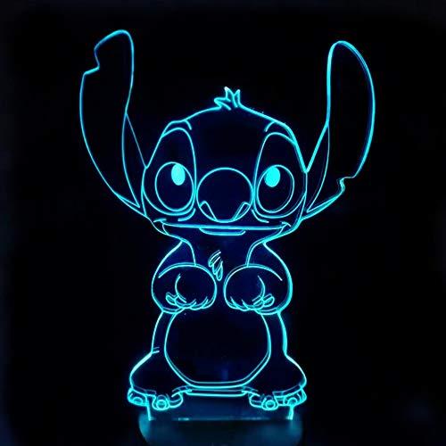 Cartoon Stich 3d LED Nachtlicht 7 Colar Ändern 3D Lampe Touch Schalter Für Wohnkultur USB Tischlampen Für Kinder Beste Geschenk han-8141